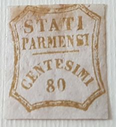 Parma, 1859 - 80 cents - Interim Government - 80 cents, bistro, olive - Sassone #18