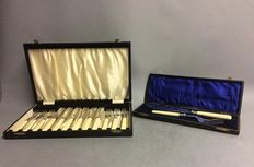 Silver plated six person fish cutlery and silver plated fish serving cutlery, both in original case, England, ca. 1920