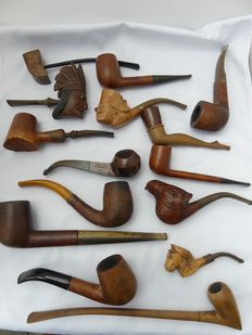 Collection of 15 pipes - bruyere - a.o. contest pipe - ca 1910 - 1985