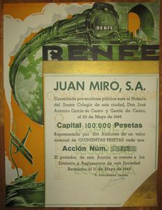 Spain - Juan Miro, S.A. (RENFE) - DECO Accion de 500 Pesetas, Barcelona, 1949 - only 200 issued!