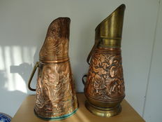 Two copper coal scuttles - early 20th century