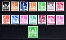 Bi-zone 1948 - buildings complete with wide and narrow-spaced border teeth - Michel 73/100 wg/eg
