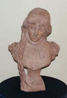 Terracotta bust (signed with monogram and number)