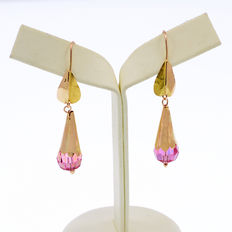 Long 18 kt / 750 yellow gold earrings