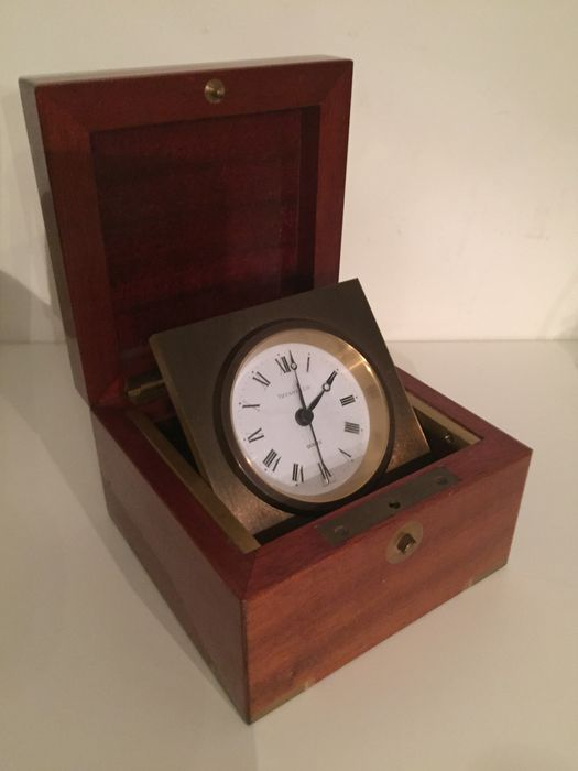 Vintage Tiffany U0026 Co. Unique Table Clock In Handmade Mahogany And Bronze  With A Brass