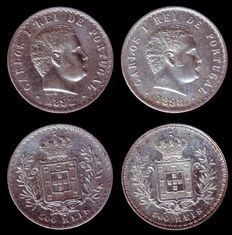 Portugal - King Carlos I - 2 silver 500 reis coins - Years 1892 and 1898