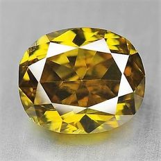 0.24 ct oval cut diamond, natural fancy deep brownish yellow SI1 ***low reserve price!***