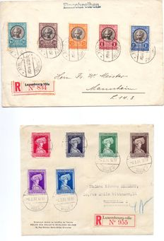 Luxembourg - Letters with complete series Caritas 1927 and 1936