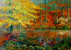 A. Praxel (1st half 20th century) - Sunny autumn forest with Lake