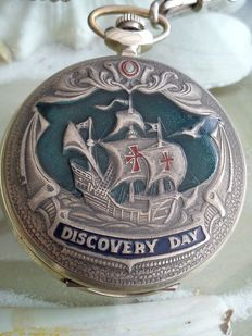 Molnija - Christopher Columbus USSR Soviet pocket watch 'Discovery Day'.