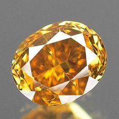 0.34 ct Ovaal Geslepen Diamant Fancy Deep Brown Orangy Yellow I-1 ***Low Reserve Price***
