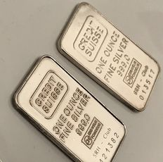 2 items: 1 Ounce silver bars Credit Swiss