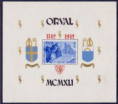 Belgium 1942 - Large Orval blocks with overprint of Gothic numerals - OBP BL24/25