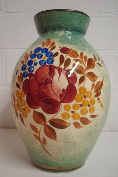 Boch Frères Keramis - Art Deco vase with multi-coloured decor of floral motifs