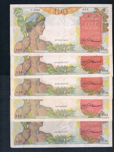 French Indochina  - 5 x 100 piastres  1949-1954 - Pick 82b