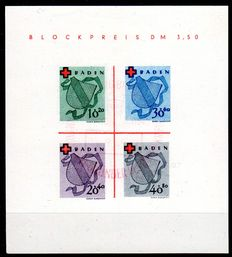 French zone Baden 1949 - Red Cross - Michel set 2l with commemorative stamp, inspected Schlegel BPP
