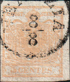 Lombardy-Venetia, 1850— Orange Ochre 5 Cents (1d)