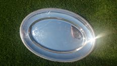 "large recessed oval ""torpedo"" dish, pearls model,  christofle"