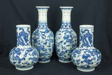 Four decorative blue and white vases - China - late 20th/21st century
