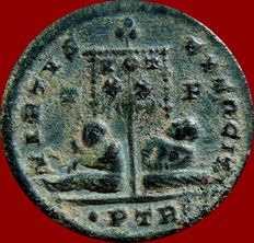 Roman Empire - Constantine I the Great (307-337 A.D.) bronze follis (2,80 g. 19 mm.). Trier mint. Struck 320 A.D. VIRTVS EXERCIT. T / F. ·PTR·