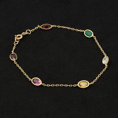 18 kt yellow gold bracelet with multicolour gemstones