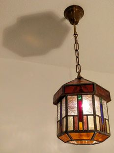 Very sizeable stained-glass hall lamp-6-sided