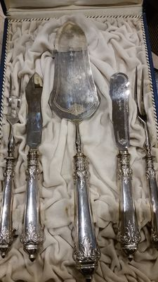 Dessert serving set in box, silver 800