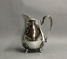 Silver plated jug for ice water, with stopper for ice cubes, Rogers, U.S.A., ca. 1965