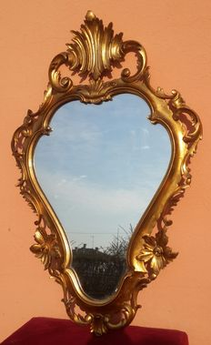 Mirror with lime wood frame, finely carved, gold leaf gilding, Venice, Italy, approx. 1900