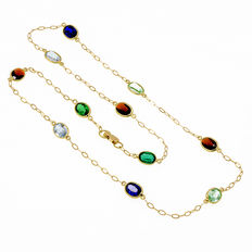 Necklace in 18 kt yellow gold with multicoloured gemstones