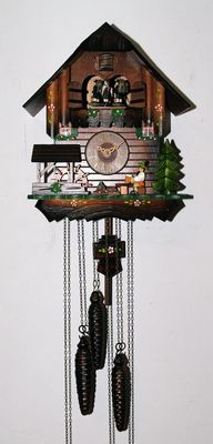 Cuckoo clock , chalet type - 1980s - with carousel and musical box