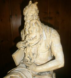 Ferdinand Barbedienne (1810-1892) - antique plaster sculpture - after Michelangelo Buonarotti´s Moses - France - 19th century