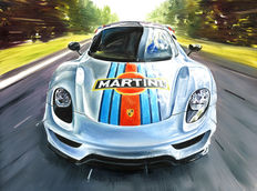 Porsche 918 Spyder Martini Racing Team Sport Car - Art Print Poster - Hand signed by Artist Andrea Del Pesco + COA.