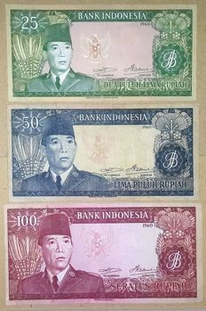 Indonesia - 25, 50 and 100 Rupiah 1960 - Sukarno - Pick 84a, 85b and 86a (replacement)