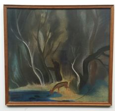 Unknown (20th century) -. Drinking deer in forest.