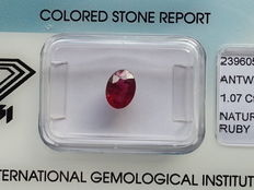 Robijn - Deep Purplish Red - 1,07 ct.