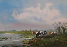 H Poeder (21st century) - Dutch landscape with Cows