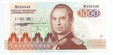 Luxembourg - 1000 Francs ND (1985) - IML special stamp of last day of validity 31 Dec 2001 Remich - Pick 59a