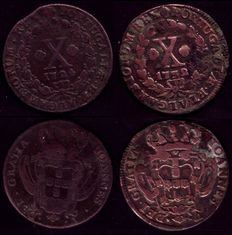 Portugal - King D. Joao V - Two X reis copper coins - Years 1724 and 1732