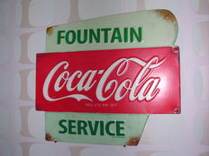 Metal advertising sign for Coca Cola from 1990 - Made in USA