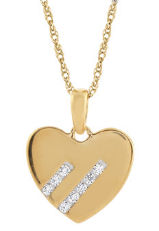 No reserve price brand new heart diamond pendant. 0.10ct total weight (8 x 0.0125ct), G colour and SI clarity diamonds. Set in 18kt yellow gold. Just the pendant, no chain available