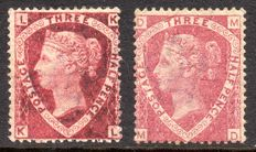 Great Britain Queen Victoria 1870 - 1.5d Lake-red Plate 1 and Rose-red Plate 3 - Stanley Gibbons 51 & 52