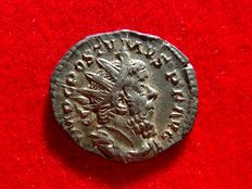 Roman Empire - Postumus (260 - 269 A.D.) silver antoninianus (3,05 g. 22 mm.), Trier mint, 262 A.D. 1st. officina. VIRT-VS AVG.