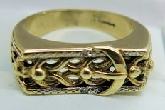 "Diamond ""Belt Design"" 9kt Gold Ring"