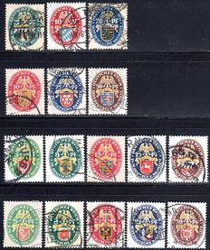 German Empire/Reich 1925/1929 - German emergency relief, all country crest issues - Michel 375/377, 399/401, 425/429 and 430/434
