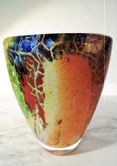 Dino Ripa - Polychrome vase with abstract veined decoration