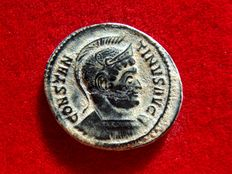 Roman Empire - Constantine I the Great (307-337 A.D.) bronze follis (2,60 g. 20 mm.). Trier mint. Struck 323 A.D. BEATA TRANQVILLITAS. ·PTR·