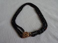 3 Rows glass jet mourning necklace with a nice gold clasp