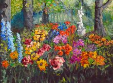 Unknown (20th/21st century) - flower garden with image