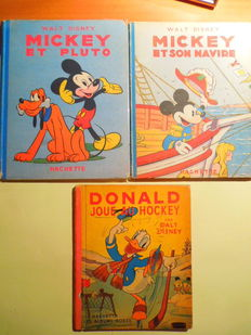 Disney, Walt - 4 albums (in French) - Mickey Mouse and Donald Duck - hardcover - 1st edition (1932/1950)